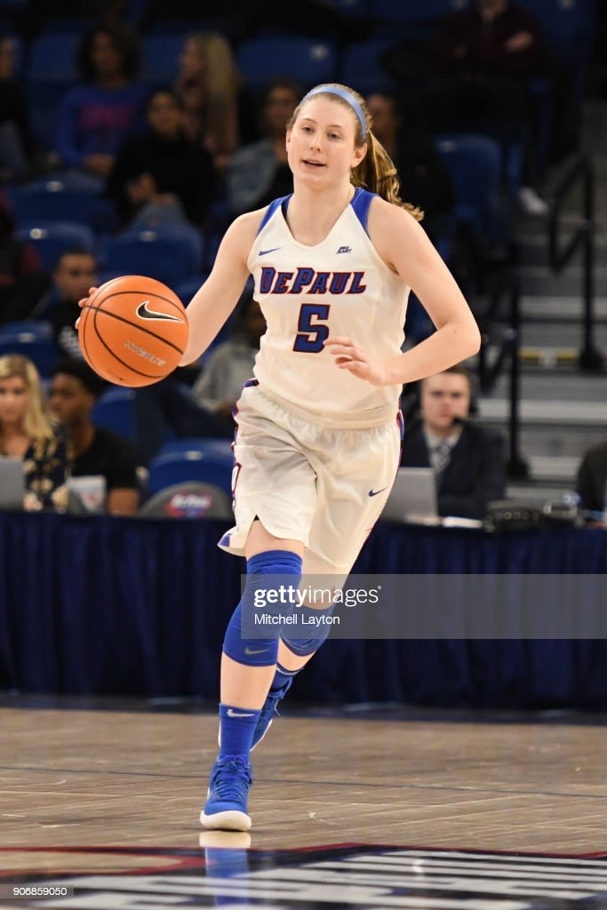 Lauren Prochaska #5 of the DePaul Blue Demons dribbles up court during a women's college basketball game against the Xavier Musketeers at Wintrust Arena on January 12, 2018 in Chicago, Illinois. The Blue Demons won 79-48.