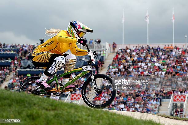 Lauren Reynolds of Australia competes during the Women's BMX Cycling on Day 12 of the London 2012 Olympic Games at BMX Track on August 8 2012 in...
