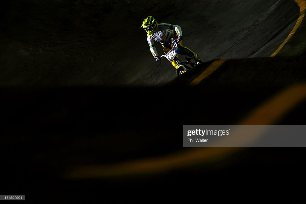 Lauren Reynolds of Australia competes in the Elite Womens time trial during day four of the UCI BMX World Championships at Vector Arena on July 27, 2013 in Auckland, New Zealand.