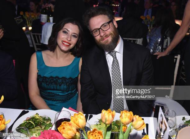 Lauren Rogen and Seth Rogen attend A Funny Thing Happened On The Way To Cure Parkinson's at the Hilton New York on November 11 2017 in New York City