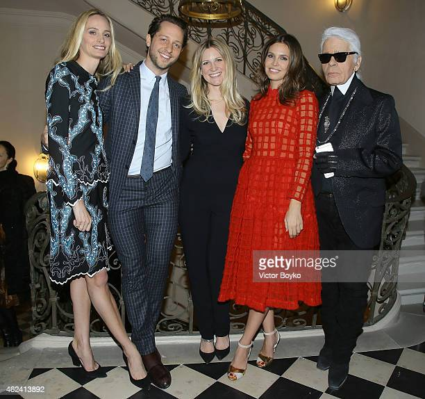 Lauren Santo Domingo Derek Blasberg Kristina OÕNeill Dasha Zhukova and Karl Lagerfeld attend the party for Dasha Zhukova' cover for Wall Street...