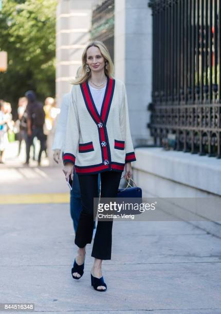 Lauren Santo Domingo wearing a cardigan seen in the streets of Manhattan outside Tory Burch during New York Fashion Week on September 8 2017 in New...
