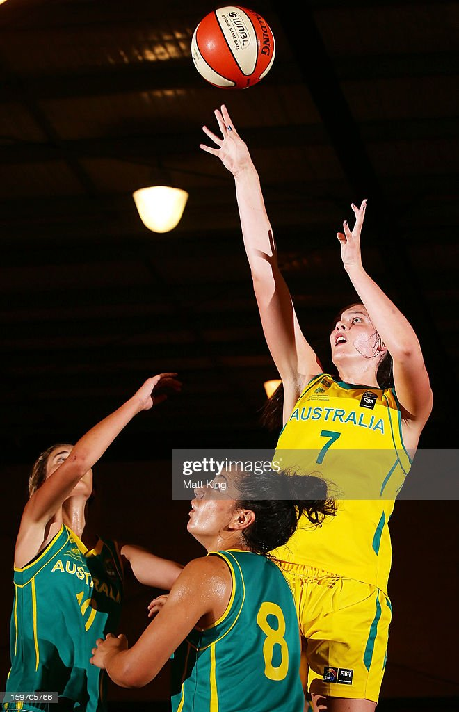Lauren Scherf of Australia Gold competes in the Women's gold medal playoff against Australia Green during day four of the Australian Youth Olympic Festival at Sydney Boys High School on January 19, 2013 in Sydney, Australia.
