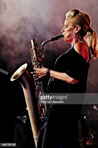 Lauren Sevian of Mingus Big Band Performs at Jazz Middelheim Festival on August 05 2017 in Antwerp Belgium