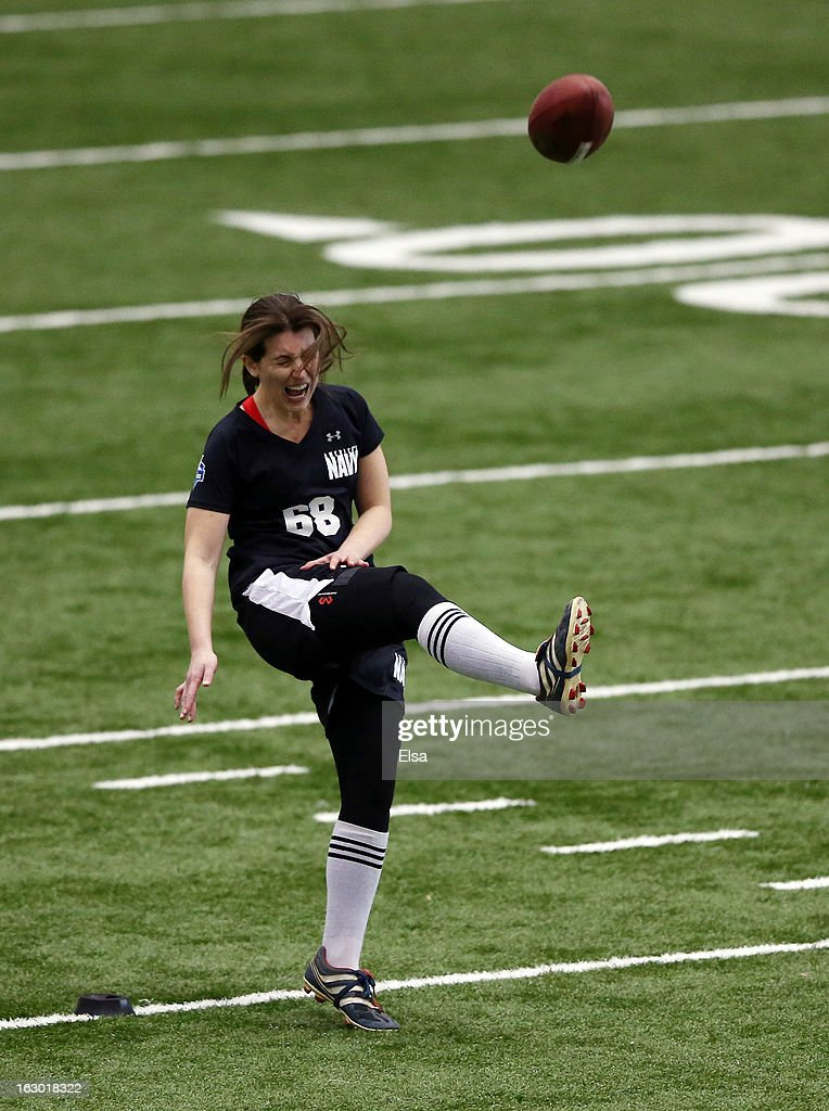 Lauren Silberman attempts a kick off at NFL Regional Scouting Combine on March 3, 2013 at the Atlantic Health Training Center in Floram Park, New Jersey. Silberman is the first female to try out for the NFL.