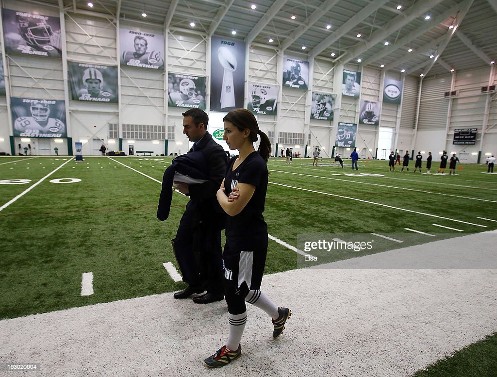 Lauren Silberman walks off the field after the NFL Regional Scouting Combine on March 3, 2013 at the Atlantic Health Training Center in Floram Park, New Jersey. Silberman is the first female to try out for the NFL.