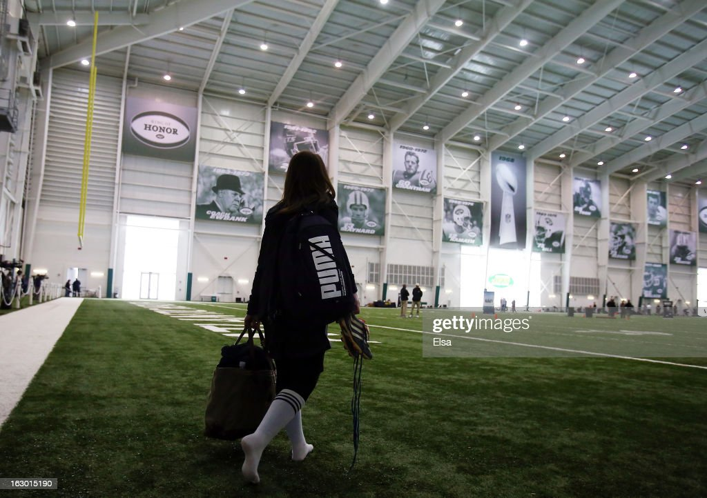 Lauren Silberman walks onto the field for warmups before she participates in NFL Regional Scouting Combine on March 3, 2013 at the Atlantic Health Training Center in Floram Park, New Jersey. Silberman is the first female to try out for the NFL.