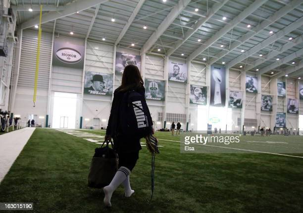 Lauren Silberman walks onto the field for warmups before she participates in NFL Regional Scouting Combine on March 3 2013 at the Atlantic Health...