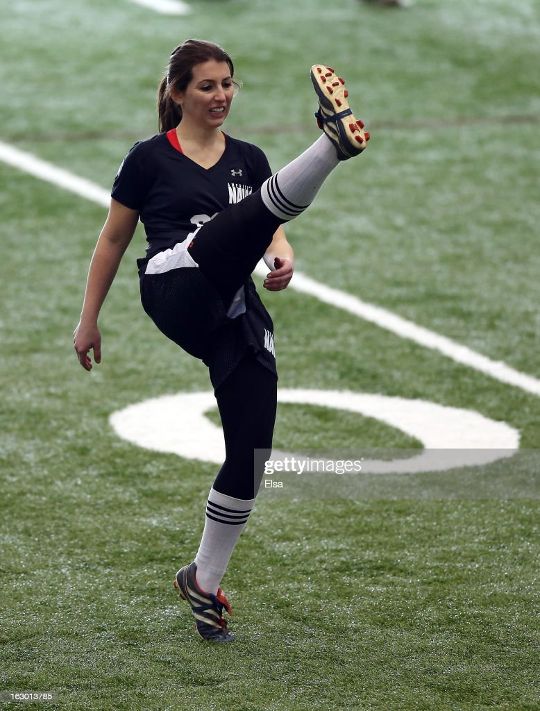 Lauren Silberman warms up before she participates in NFL Regional Scouting Combine on March 3, 2013 at the Atlantic Health Training Center in Floram Park, New Jersey.
