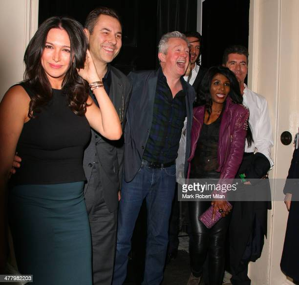 Lauren Silverman David Walliams Laura Stone Louis Walsh Sinitta and Simon Cowell at the Arts club on March 11 2014 in London England