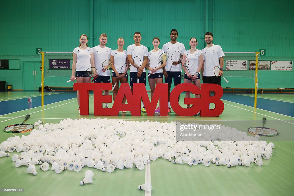Lauren Smith, Marcus Ellis, Gabby Adcock, Christopher Adcock, Heather Olver, Rajiv Ouseph, Kirsty Gilmour and Christopher Langridge - Badminton Athletes selected for the Olympics in Rio 2016 during the Announcement of Badminton Athletes Named in Team GB for the Rio 2016 Olympic Games at the National Badminton Centre on June 27, 2016 in Milton Keynes, England.