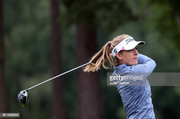 Lauren Taylor of England plays a shot during The Berenberg Gary Player Invitational 2017 at Wentworth Club on July 24 2017 in London England