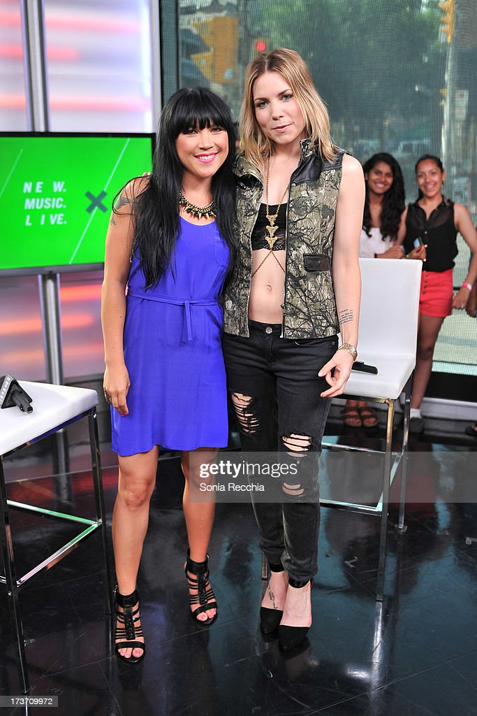 Lauren Toyota and <a gi-track='captionPersonalityLinkClicked' href=/galleries/search?phrase=Skylar+Grey+-+Singer&family=editorial&specificpeople=4349722 ng-click='$event.stopPropagation()'>Skylar Grey</a> attend NEW.MUSIC.LIVE. at MuchMusic Headquarters on July 16, 2013 in Toronto, Canada.