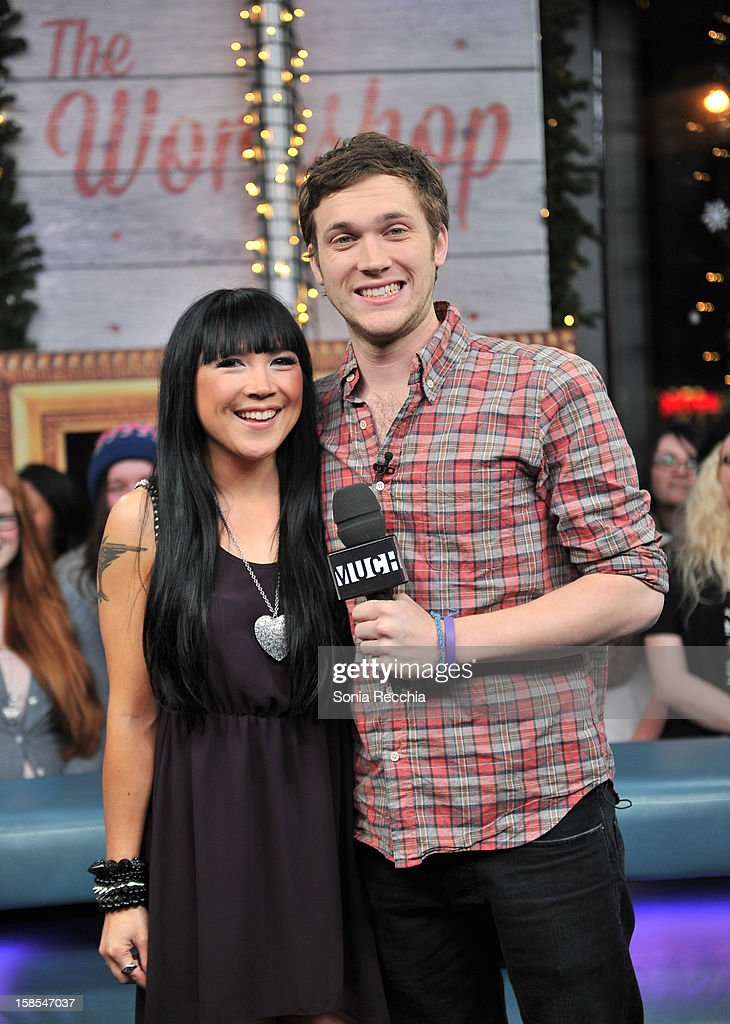 Lauren Toyota interviews <a gi-track='captionPersonalityLinkClicked' href=/galleries/search?phrase=Phillip+Phillips&family=editorial&specificpeople=1651494 ng-click='$event.stopPropagation()'>Phillip Phillips</a> on NEW.MUSIC.LIVE. at MuchMusic Headquarters on December 18, 2012 in Toronto, Canada.