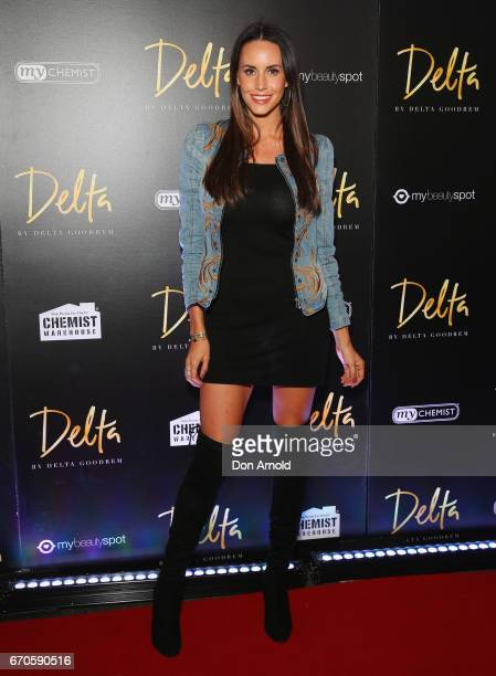 Lauren Vickers poses at the launch of Delta by Delta Goodrem on April 20 2017 in Sydney Australia
