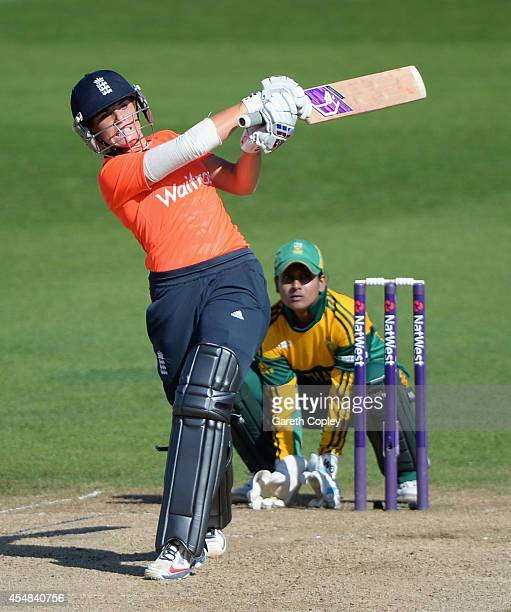 Lauren Winfield of England bats during the NatWest Women's International T20 between England and South Africa at Edgbaston on September 7 2014 in...