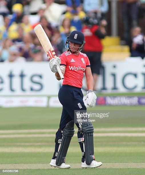 Lauren Winfield of England celebrates scoring a half century during the 3rd Natwest International T20 played between England Women and Pakistan Women...