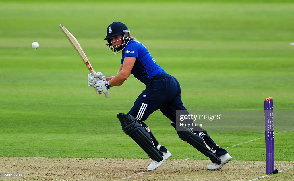 <a gi-track='captionPersonalityLinkClicked' href=/galleries/search?phrase=Lauren+Winfield&family=editorial&specificpeople=11087811 ng-click='$event.stopPropagation()'>Lauren Winfield</a> of England flicks the ball during the 3rd Royal Royal London ODI between England Women and Pakistan Women at The Cooper Associates County Ground on June 27, 2016 in Somerset, United Kingdom.