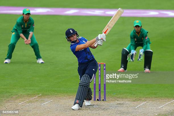 Lauren Winfield of England hits a boundary during the second Women's Royal London ODI match between England and Pakistan at New Road on June 22 2016...