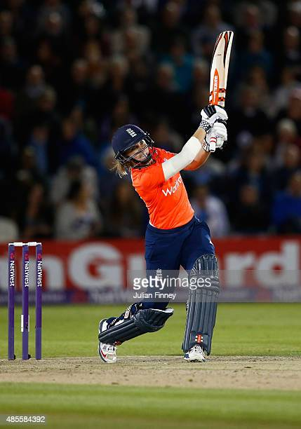 Lauren Winfield of England hits out during the 2nd NatWest T20 of the Women's Ashes Series between England and Australia Women at...