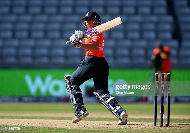 Lauren Winfield of England in action batting during the NatWest Women's International T20 match between Engalnd Women and South Africa Women at...