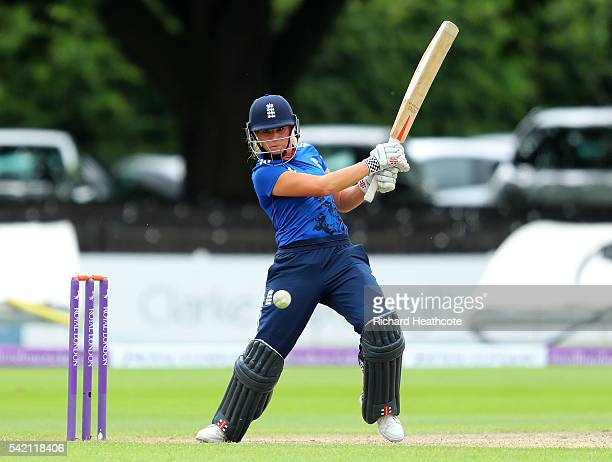 Lauren Winfield of England in action during the second Women's Royal London ODI match between England and Pakistan at New Road on June 22 2016 in...