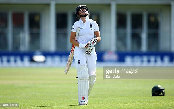 Lauren Winfield of England leaves the field dejected after being given out LBW to Megan Schutt of Australia during day four of the Kia Women's Test...