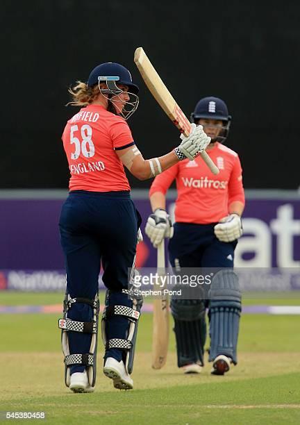 Lauren Winfield of England reaches 50 runs not out during the Natwest Women's International T20 match between England Women and Pakistan Women at the...