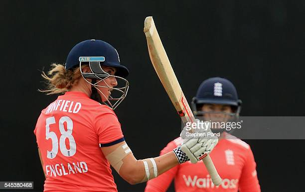 Lauren Winfield of England reaches 50 runs not out during the Natwest Women's International T20 match between England Women and Pakistan Women at the...
