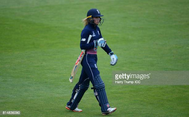Lauren Winfield of England walks off after being dismissed during the ICC Women's World Cup 2017 match between England and the West Indies at The...
