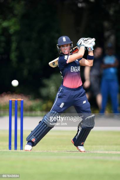 Lauren Winfield of England Women's drives the ball during the ICC women's world cup warm up match between England Women's and Sri Lanka on June 19...