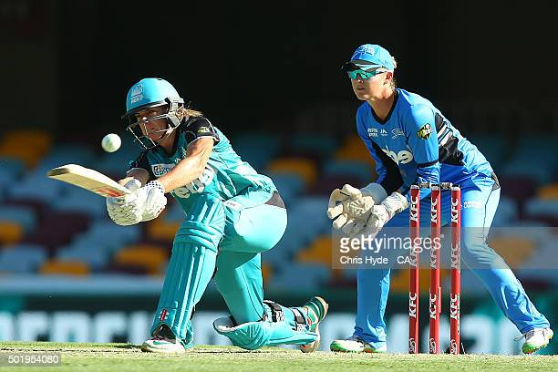 Lauren Winfield of the Heat bats during the Women's Big Bash League match between the Brisbane Heat and the Adelaide Strikers at The Gabba on...