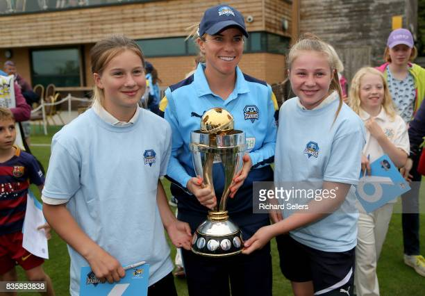 Lauren Winfield of Yorkshire Diamonds and young cricket fans with the world cupd afterthe Kia Super League between Yorkshire Diamonds v Western Storm...