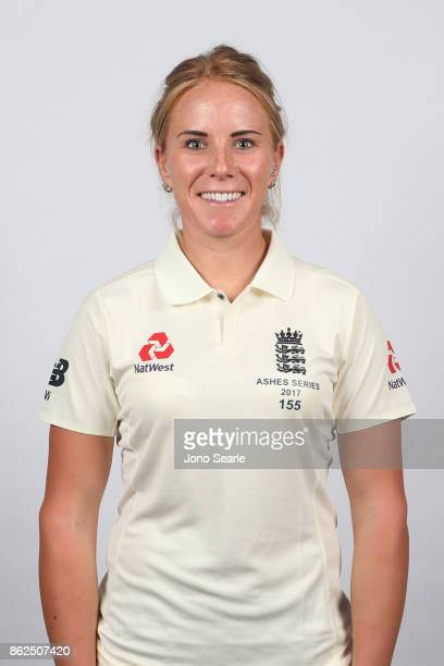 Lauren Winfield poses during the England women's Test headshots session on October 13 2017 in Brisbane Australia