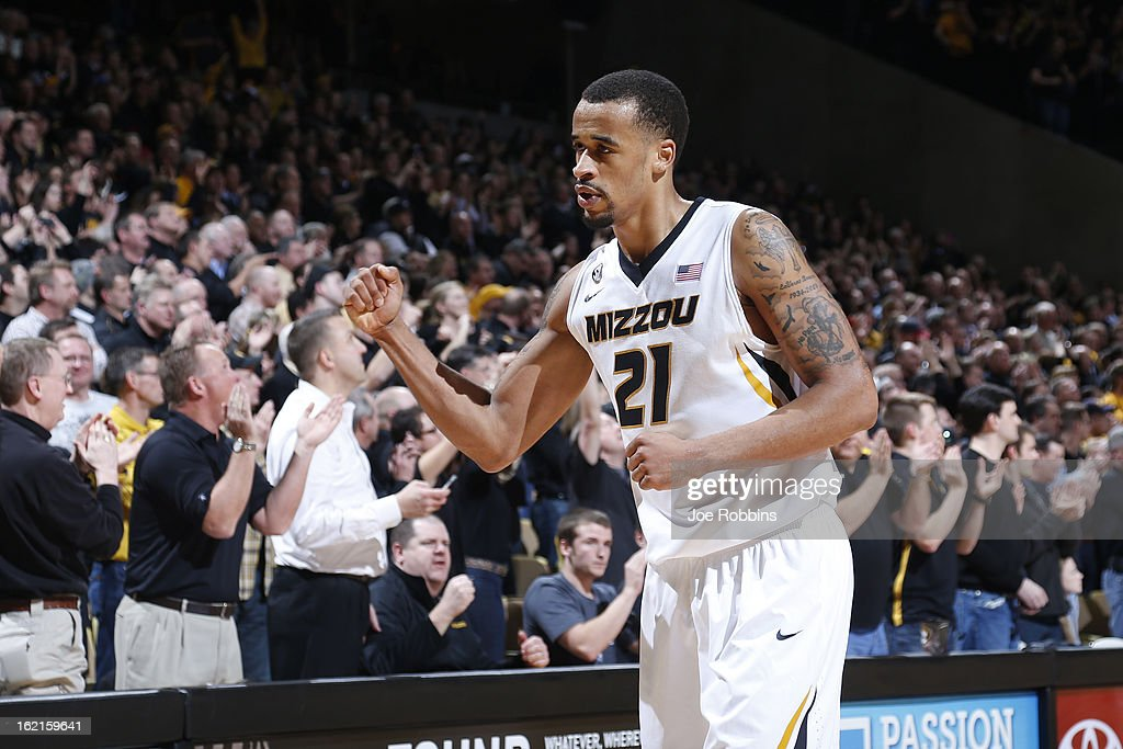Laurence Bowers #21 of the Missouri Tigers celebrates in the closing seconds of the game against the Florida Gators at Mizzou Arena on February 19, 2013 in Columbia, Missouri. Missouri upset Florida 63-60.
