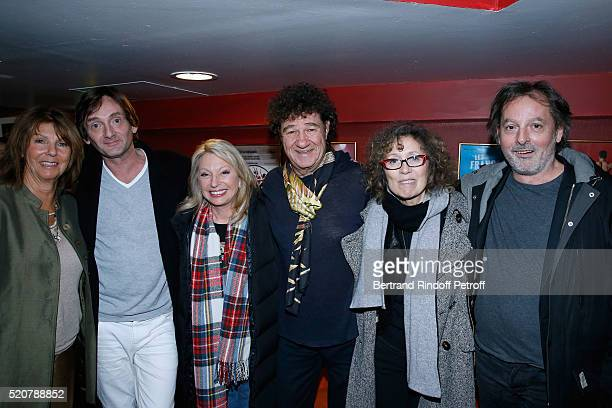 Laurence Charlebois humorist Pierre Palmade singer Veronique Sanson singer Robert Charlebois journalist Mireille Dumas and Christophe Aleveque pose...
