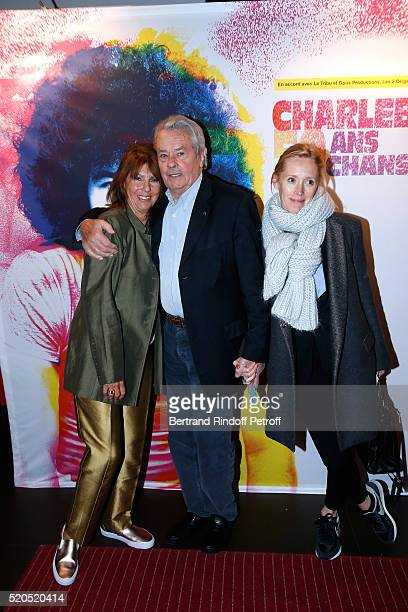 Laurence Charlebois wife of Robert actor Alain Delon and Guest attend the Robert Charlebois '50 ans 50 chansons' Concert at Bobino on April 11 2016...
