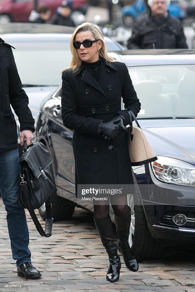 Laurence Ferrari arrives to attend the funeral of journalist Jacques Chancel at SaintGermaindesPres church on January 6 2015 in Paris France