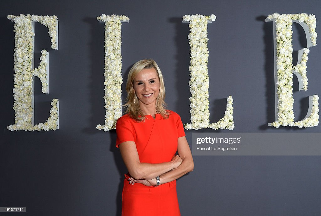 Laurence Ferrari attends a cocktail party hosted by the US Ambassador to France and Monaco to celebrate ELLE US's 30th Anniversary ELLE France's 70th...