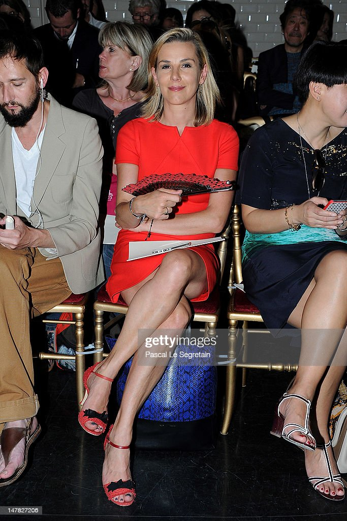 Laurence Ferrari attends the JeanPaul Gaultier HauteCouture show as part of Paris Fashion Week Fall / Winter 2012/13 on July 4 2012 in Paris France