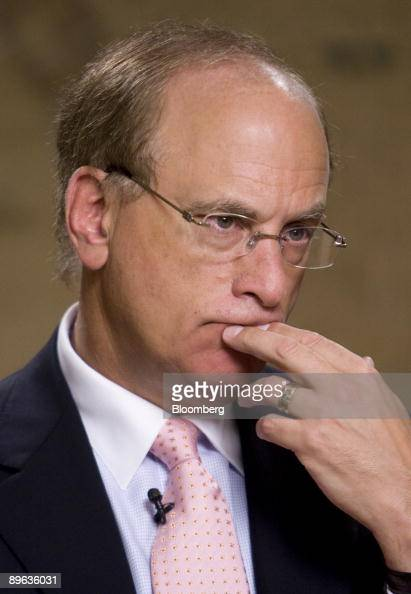 Laurence Fink chairman chief executive officer and founder of BlackRock Inc pauses during an interview in New York US on Friday June 12 2009...