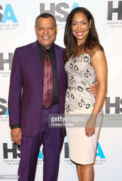 Laurence Fishburne and actress wife Gina Torres attend The Harlem School Of The Arts Fall Benefit at Jazz at Lincoln Center on October 8 2013 in New...