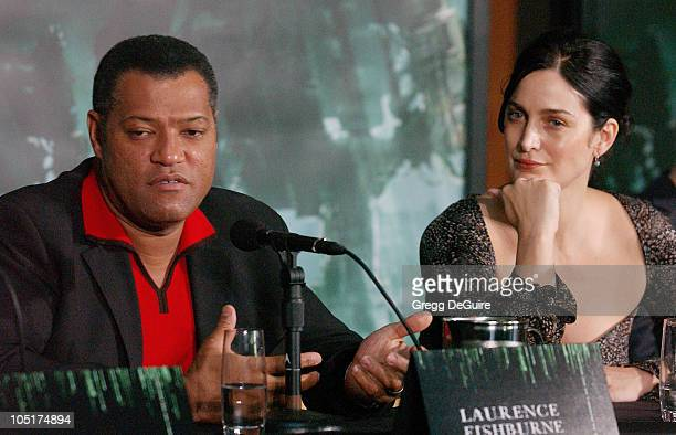 Laurence Fishburne and CarrieAnne Moss during Los Angeles Press Conference with The Cast of 'The Matrix Revolutions' at Disney Concert Hall in Los...