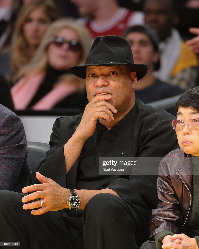 Laurence Fishburne attends a basketball game between the New York Knicks and the Los Angeles Lakers at Staples Center on December 25, 2012 in Los Angeles, California.