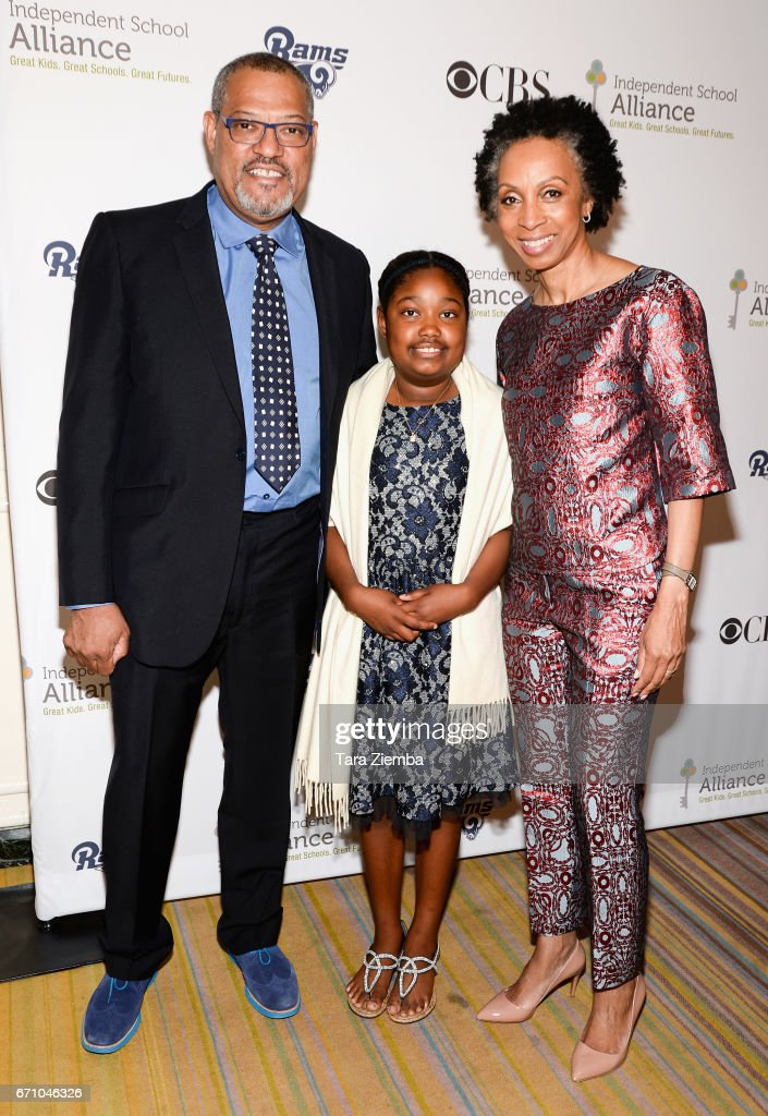 Laurence Fishburne, Delilah Fishburne and Nina Shaw attend the Independent School Alliance Impact Awards at the Beverly Wilshire Four Seasons Hotel on April 20, 2017 in Beverly Hills, California.