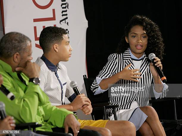 Laurence Fishburne Marcus Scribner and Yara Shahidi attend LA Times Envelope Emmy screening of ABC's 'Blackish' at ArcLight Sherman Oaks on June 11...