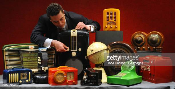Laurence Fisher of the Mechanical and Music Collectors department at Bonhams with part of a collection of 148 vintage plastic radios from around the...
