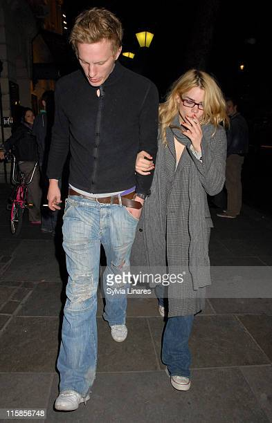 Laurence Fox and Billie Piper during Billie Piper and Laurence Fox Sighting at the Garrick Theatre in London May 5 2007 at Garrick Theatre in London...