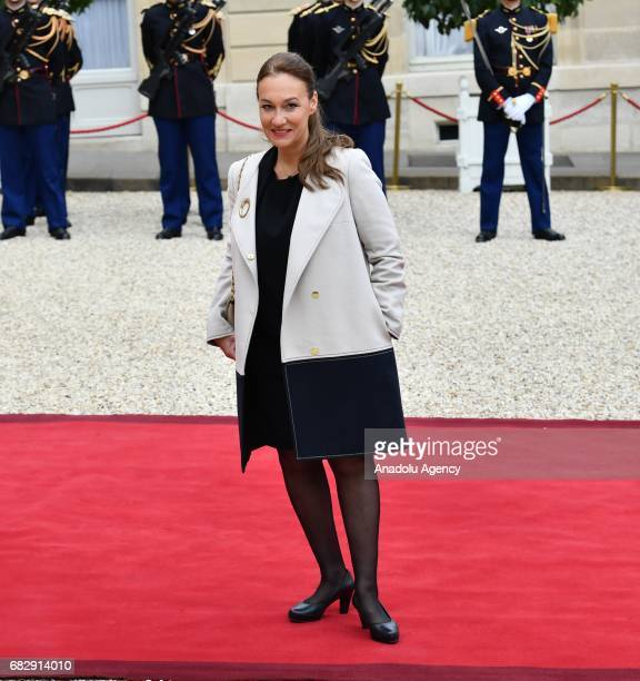 Laurence Haim spokesperson of French President Emmanuel Macron arrives at the Elysee Palace prior to the handover ceremony for New French President...