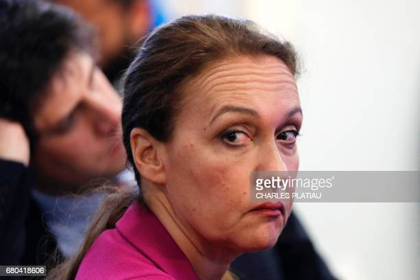 Laurence Haim spokesperson of French Presidentelect Emmanuel Macron attends a press conference of the political movement En Marche at the campaign...